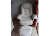 cream leather chair, good condition. Reclines and swivels