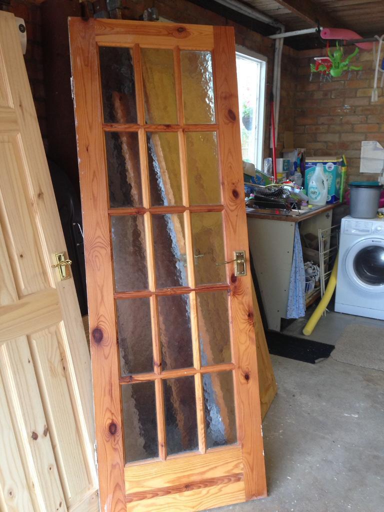 15 glass panel pine door
