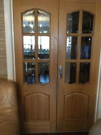 PINE HARDWOOD FRENCH DOOR! GOOD CONDITION