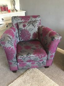 Feature armchair and matching cushions