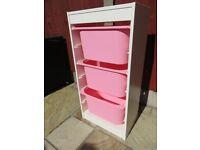 Ikea Trofast White Storage with Pink Boxes (3)