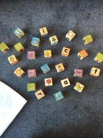 Set of 26 wooden alphabet blocks