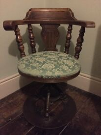 Antique Captain's Chair- Solid Oak and Cast Iron