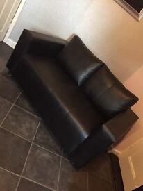 Sofa 2 Seater Black Faux Leather