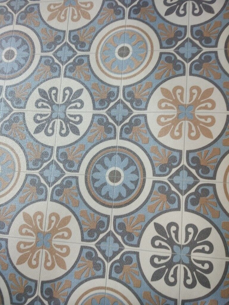 Moroccan Tile Effect Vinyl Flooring 2m X 3m Lino In Newcastle