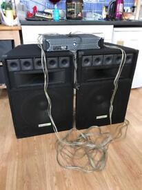 """Ekho 15"""" PA speakers, 1500 watt amplifier. (Dj parties etc)"""