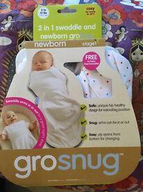 Brand new gro-snug newborn baby sleeping bag/swaddle cosy rainbow spot
