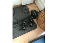 Cast Iron Dumbbell set 50 kg with bar and locking floor mat