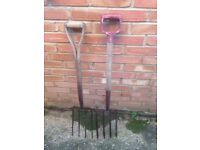 TWO STRONG GARDEN FORKS . £5 EACH .