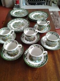 Vintage Royal Tudor Country Cottage cups, saucers and cake plates