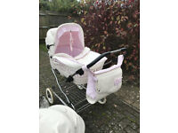 white leather and pink travel system