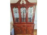 GLASS DISPLAY CABINET WITH CUPBOARD