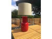 Red lamp and shade
