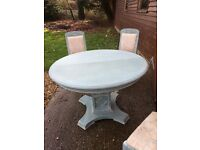 Extendable round table and 4 chairs ideal shabby chic project