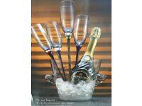 Designer champagne glasses and bucket