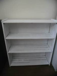 White Solid Timber Panel Bookcase with 4 Shleves Display Unit North Lakes Pine Rivers Area Preview