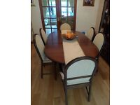 Dining room table, chairs and matching display unit