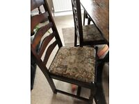 Lovely dark oak dining chairs and table in excellent con