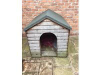 Wooden dog kennel with felt roof, 2 years old never used. Size 94cm wide x 110cm high x 127cm deep
