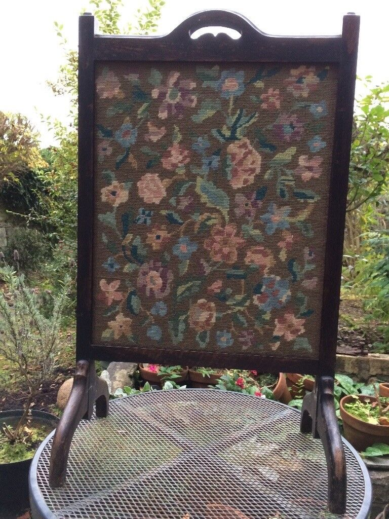 Antique Art Deco Fire Guard/Screen with Embroidered Floral Tapestry panel