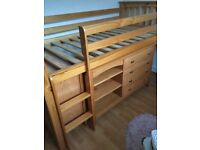 Next solid pine single cabin bed including cupboard, desk & chest of drawers. Excellent condition