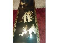 Antique oriental black and white shell large picture