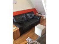 Comfortable 3 Seater Dark Brown Leather Sofa