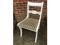 Gorgeous Glenister Chair Painted in Antique White Colour and reupholstered in fabric of your choice