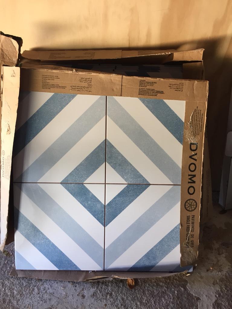 Optik Floor Tiles By Topps Blue Diamond Design