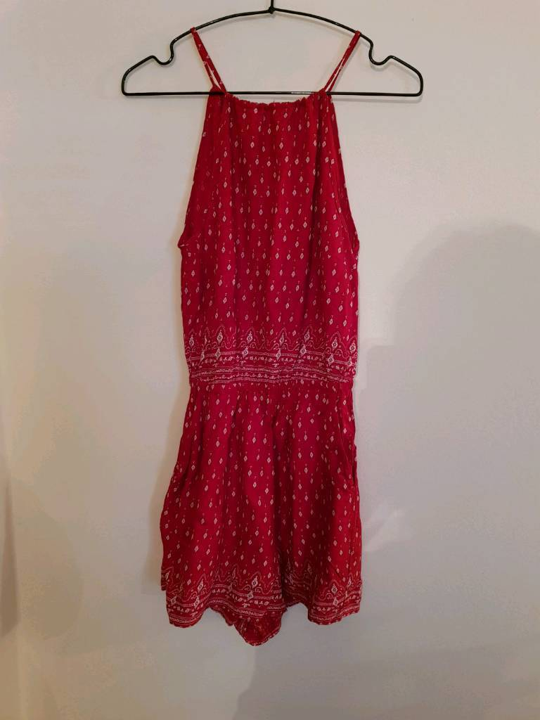 H&M red playsuit size 8