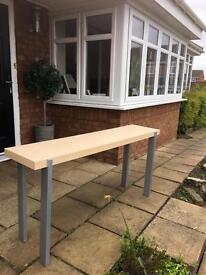 Ikea IKEA birch console table bench chrome legs