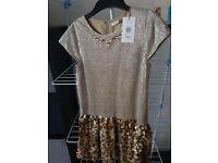 BRAND NEW!! Girls gold john lewis dress. Age 11.