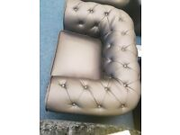 Black Bonded Leather Chesterfield Chair Ex Showroom display