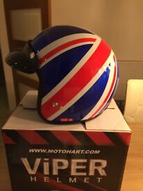 Crash Helmet Union Jack xs Viper RS04 worn twice still in Box with dustbag as new