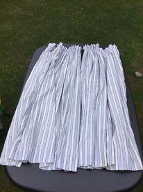 Curtains, blue stripes, lined, pencil pleat