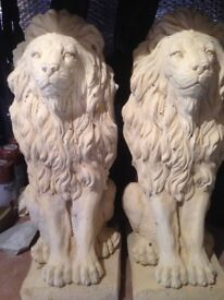 "A pair of proud lions 17"" tall £30"