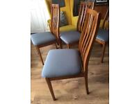 Set of 4 Retro Teak / Grey upholstered Dining Chairs