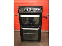 Hotpoint ultimat electric cooker HUE53 50CM black double oven 3 months warranty free local delivery