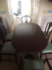 J E Coyle mahogany furniture dining table and 6chairs