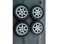 """Mazda MX5 4x100 14"""" Eunos Enkei Alloy Wheels mk1 hollow spoke"""