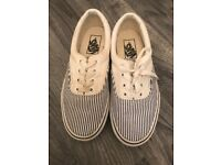 Ladies blue/white stripe vans size 5 good condition