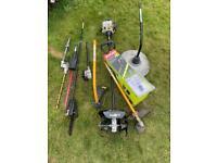 Ryobi Petrol multi tool set inc. strimmer mower pole saw chainsaw hedge trimmer New tiller & blower