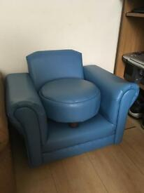 Blue armchair and foot stool