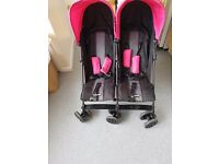 Obaby apollo double stroller in pink