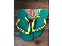 Havaianas Mens Brasil Brazil Logo Flip Flops/Sandals Green Yellow Size UK 9-10, EUR 45-46 BRA 43-44