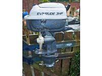 Fold up outboard Evinrude 3HP two stroke, direct drive