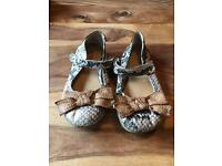 Next girls snake skin with bow size 11 flat shoes in good condition.