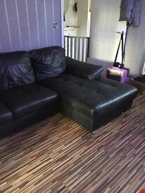 Ikea Black leather corner sofa and single chair