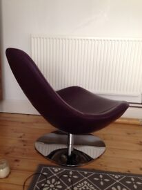 Ikea tirup swivel chair - purple leather
