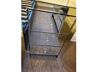 Glass mirror bedside drawers cabinet
